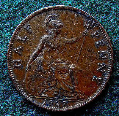 1927 UK Great Britain Half Penny Coin SB3782