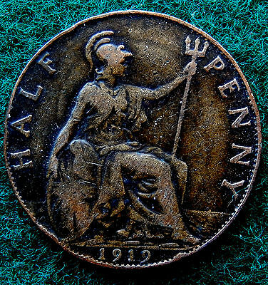 1919 UK Great Britain Half Penny Coin SB3786