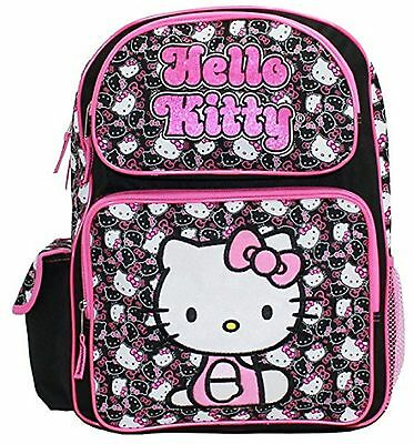 """Hello Kitty Large 16"""" Cloth Backpack Book Bag Pack - Blk Wht Faces"""