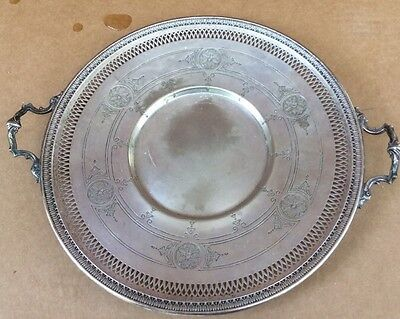 victorian  silverplate  handled  CAKE PLATE ...PIERCED DESIGN 10""