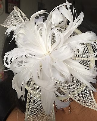 Ivory Sinamay Feathers Comb Fascinator Hat Royal Ascot Wedding Ladies Day