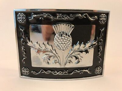 Scottish Celtic Thistle Kilt Belt Buckle Black Enamelled Chrome - GIFT BOXED