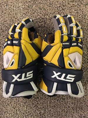 Stx Blue Yellow White Assault Gloves Sz 12! Excellent Shape!Free Shipping!