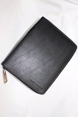MARC JACOBS NOTEBOOK PORTFOLIO BLACK Leather with ZIPPER New