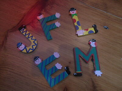 SEVI (Italy) Handpainted Clown Theme Wall Letters Initial (You Pick! E, L, J, M)