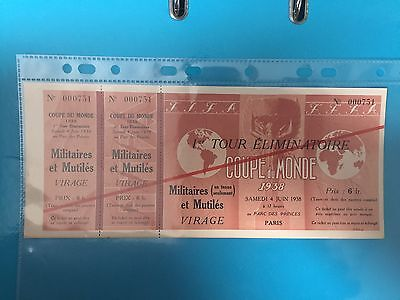 Germany Vs Switzerland 1938 World Cup Ticket Parc Des Princes Paris