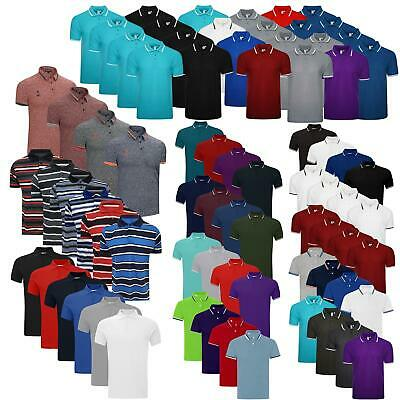 Pack of 4 Mens Polo Shirt Short Sleeve Plain Pique Top Designer TShirt Tee Lot