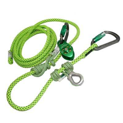 Arborist Flipline-Lanyard,CE,Moveable Prusik &  Pulley Slack Tender,16 Ft