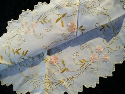 """Antique c1910~SOCIETY SILK~Pink Roses/Gold Daisy~Hand-Embroidered Centre/mat~19"""""""