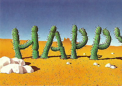 1980's SECOND NATURE PULL OUT GREETING CARD CACTI & VULTURE HAPPY BIRTHDAY CARD