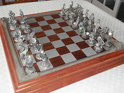 "Vintage Danbury Mint Pewter Chess Set ""fantasy Of The Crystal"" '1993'"