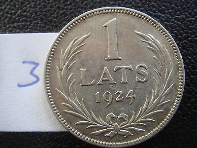 antique OLD  Latvia Lettland 1 lats  silver coin 1924 year circulated  VF +