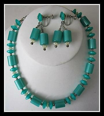 Rare Vintage Teal Green Moon Glow Lucite Demi Parure Necklace Earrings Set