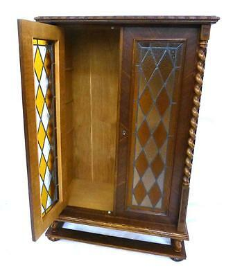 Oak Two Door Colored Glass Bookcase Lot 525