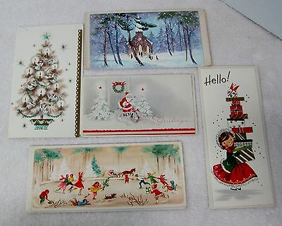 5 Vintage Greeting Card Christmas 1940-50s Skating Tree w Blue Girl w Gifts  X2