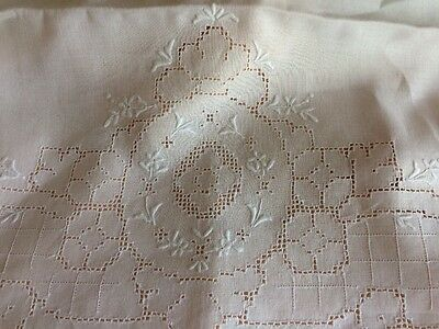 VINTAGE 1900s PAIR LINEN PILLOWCASES NORMANDY SILK EMBROIDERY OPEN PULLED WORK