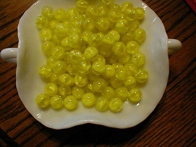 **NEW** 100 Lemon Yellow Cats Eye CRACKLE Glass MARBLES