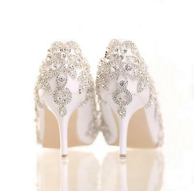 Ladies Wedding White Ivory Diamante Low Mid High Heel Pumps Bridal Party Shoes