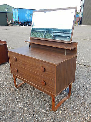 Vintage mid century solid teak dressing table with mirror & 2x drawers - Retro