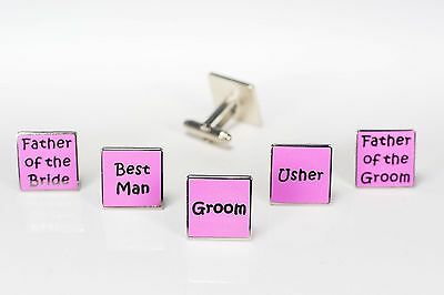 Mens Pink Wedding Cufflinks - Groom Best Man Usher Father Of Bride/Groom    (W3)