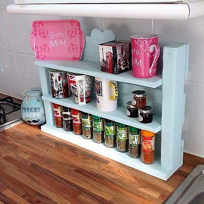 Hand made shabby chic wooden spice herb rack shelves can hold 66 Schwartz jars!: