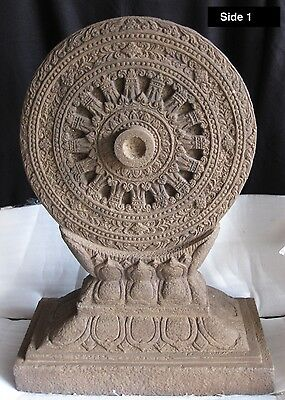 Sandstone Double-Sided Buddhist Dharmachakra, Wheel of Law Khmer Mon-Dvāravatī