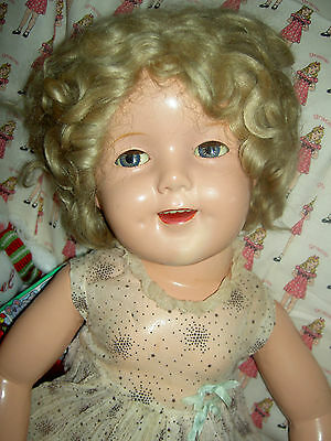 """Ideal 1930 sgnd 27"""" compo. FLIRTY Shirley Temple doll, tagged """"CURLY TOP"""" dress"""