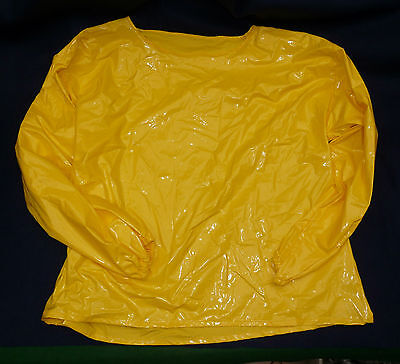 silky smooth PVC long sleeve top in yellow rubbery TV 52 chest  party time