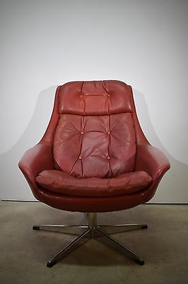 Lounge chair, H.W. Klein, red leather, Danish mid century chair