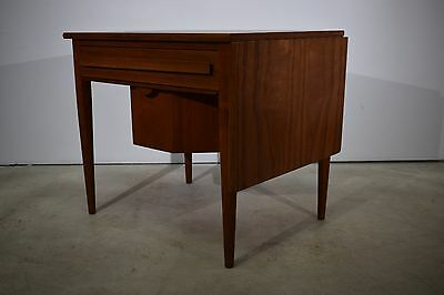 Danish mid century teak sewing table with drop leaf, Johannes Andersen