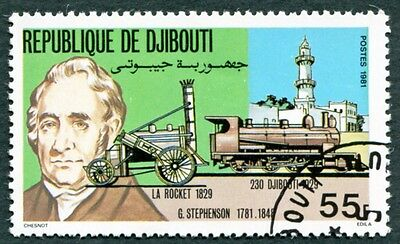 DJIBOUTI 1981 55f SG813 used NG Locomotives Rocket and Djibouti 230 a #W29