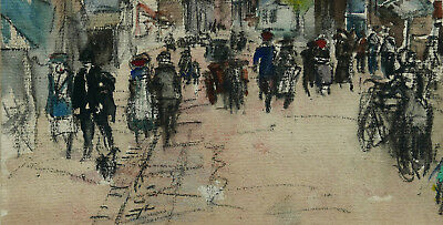 Dessin Impressionniste Rue Animee Aquarelle  Impressionist Watercolor Drawing