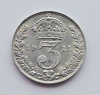 1911 George V Silver 3d coin