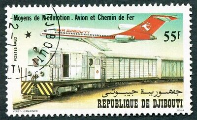 DJIBOUTI 1982 55f SG855 used NG Transport Jet airliner and locomotive #W29