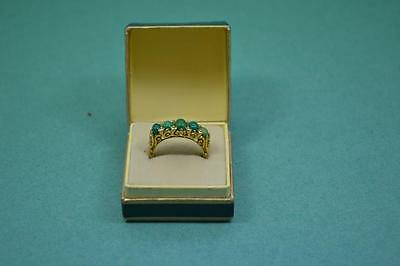vintage 18 ct gold 5 stone ring jade and diamond chips 5.3 gr size M / 6.5 U.S