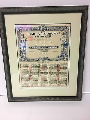 Vintage French Franc Stock Bank Certificate Deposit Check 1926 Finance Decor Gay