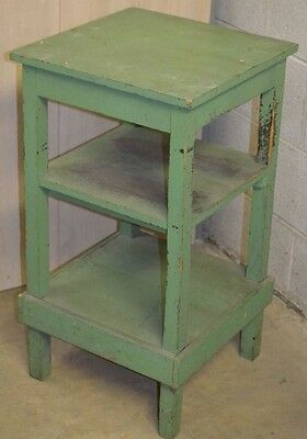 antique end table original green paint wonder patina distressed chic plant side