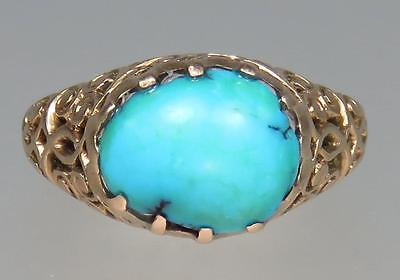 Glowing Antique Victorian 12K Rose Gold Robin's Egg Blue Turquoise Ring Size 5