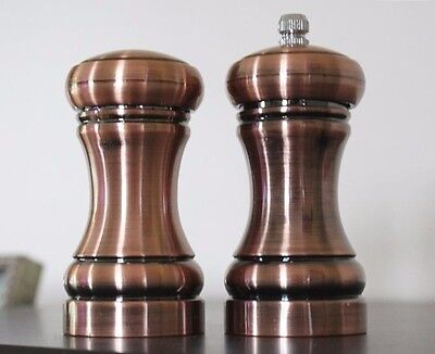 Set of 2 Copper Salt and Pepper Shakers Metal Retro Design Industrial