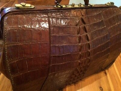 Genuine Alligator Large Antique Doctor Bag EXCIPTIONAL