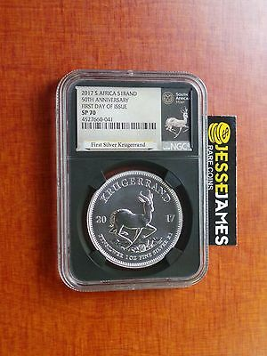 2017 South Africa Silver Krugerrand Ngc Sp70 First Day Of Issue 50Th Anniversary