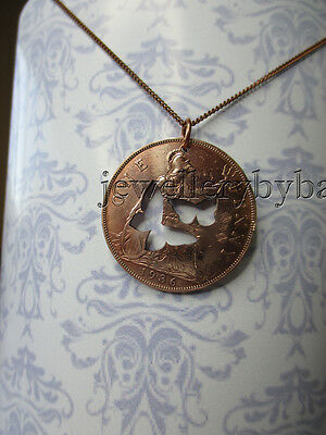 1936 Old British Penny with cut out two Butterflies. pendant, keyring or charm