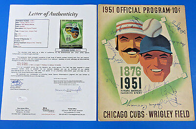 1951 CHICAGO CUBS vs BRAVES MULTI-SIGNED PROGRAM ~ JSA Z33772 ~ 13 AUTOGRAPHS ~
