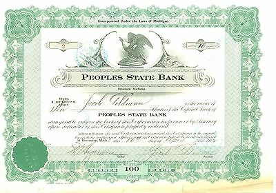 Stock Certificate Green- 1915 Peoples State Bank of  Bessemer, Michigan