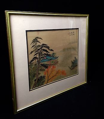 Vintage Chinese Painting On Silk Of Pergola And River Scene / Signed And Framed
