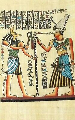 Original Egyptian Papyrus, King Tut & Anubis Proctor of Tombs, Handmade Painting