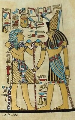 Original Papyrus, King Tut.& Horus Symbol of Protection, Handmade Painting