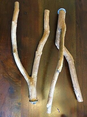 """NATURAL WOOD BIRD PARROT PERCH FORKED 16"""" Long! LOT OF 2 FREE SHIPPING"""