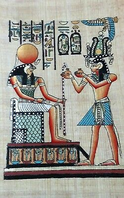 Original Egyptian Papyrus, King Tut. & Horus, Handmade Painting