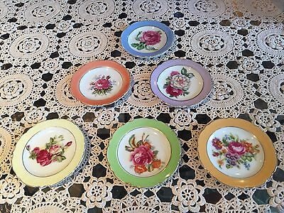Set of 6 Vintage Porcelain Japan Tea Bag Butter Pat Dishes with Flowers